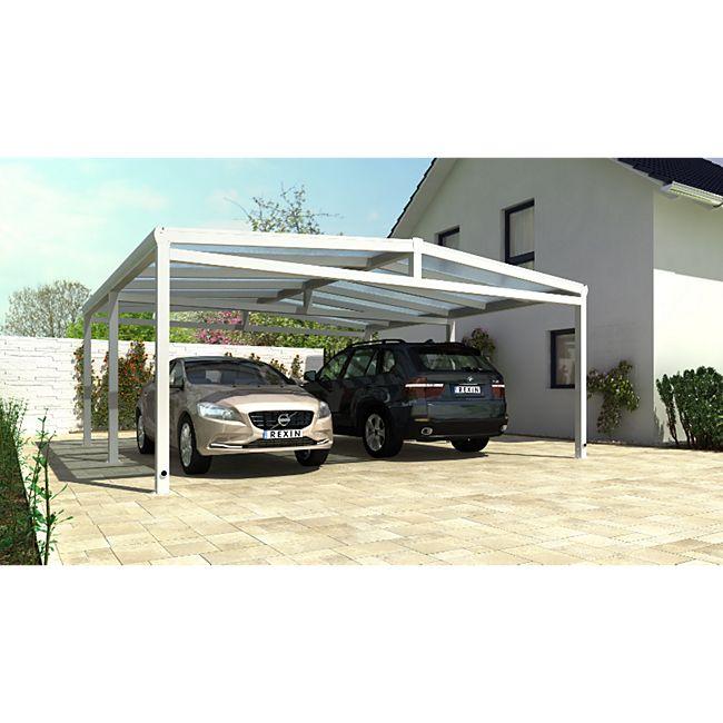 REXOport Alu-Carport 512 x 506 cm weiß mit Stegplatten - Bild 1