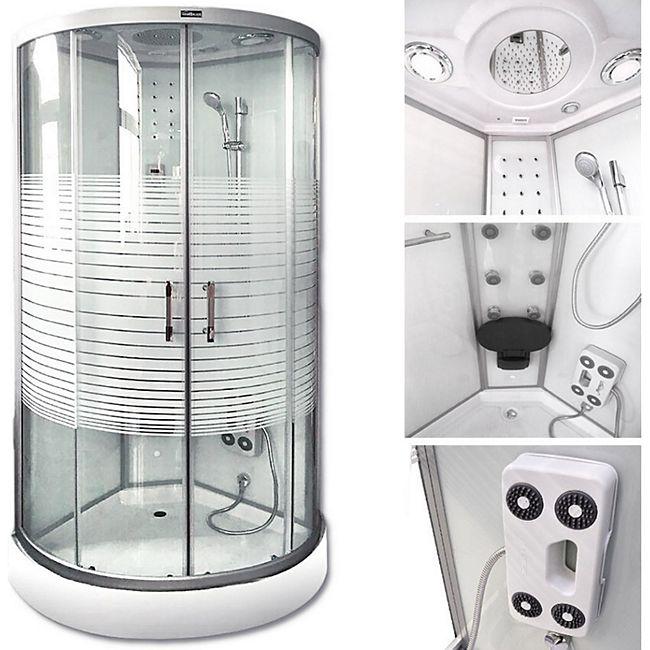 Home Deluxe White Crystel Dampfduschkabine 100x100 cm - Bild 1