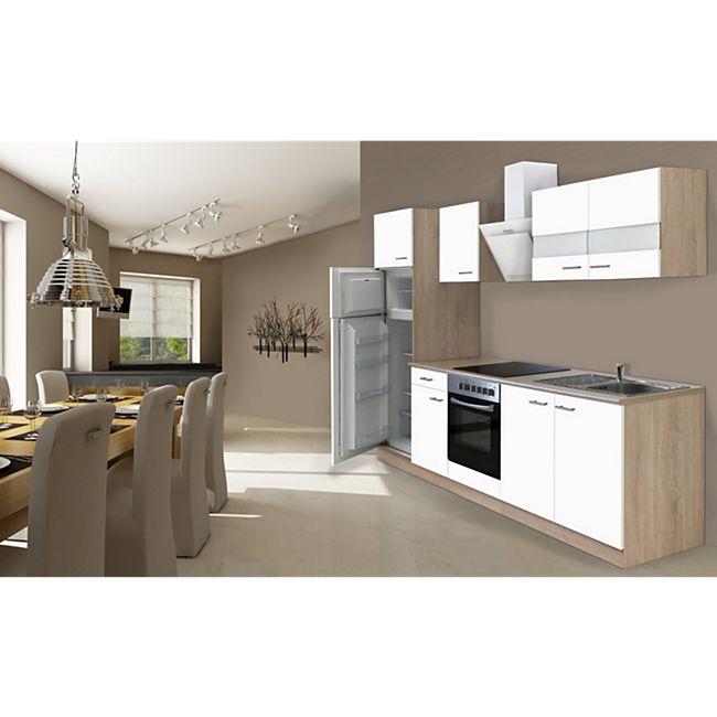 Respekta Küchenzeile KB270ESWCGKE 270 cm Weiß-Eiche Sägerau Nachbildung - Bild 1