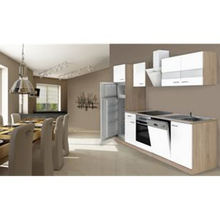 Respekta Küchenzeile KB280ESWCGKE 280 cm Weiß-Eiche Sägerau Nachbildung - Bild 1