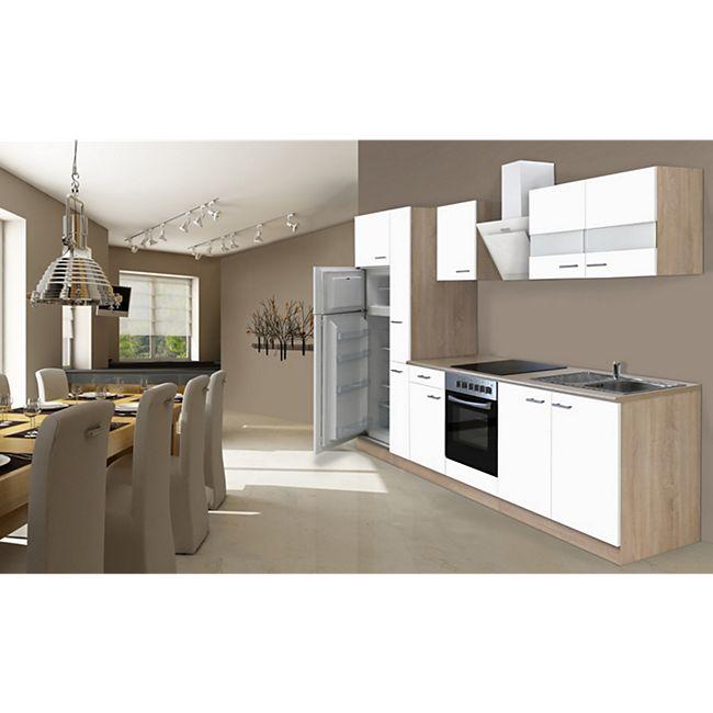 Respekta Küchenzeile KB300ESWCGKE 300 cm Weiß-Eiche Sägerau Nachbildung - Bild 1