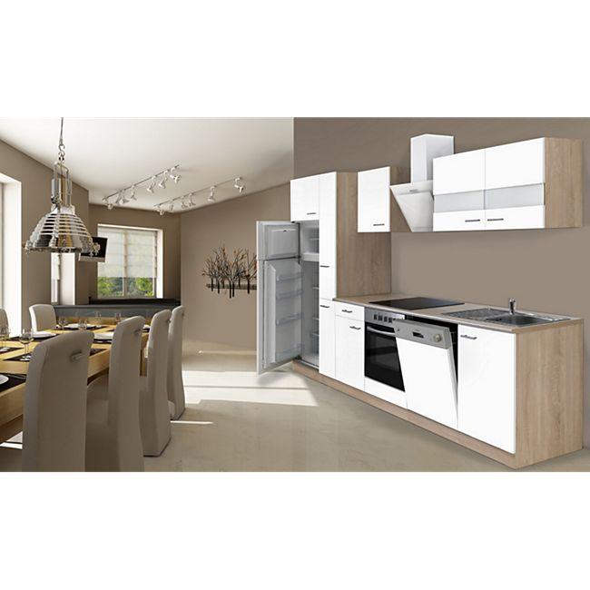 Respekta Küchenzeile KB310ESWCGKE 310 cm Weiß-Eiche Sägerau Nachbildung - Bild 1