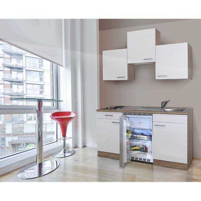 Respekta Küchenzeile KB150ESW 150 cm Weiß-Eiche Sägerau Nachbildung - Bild 1