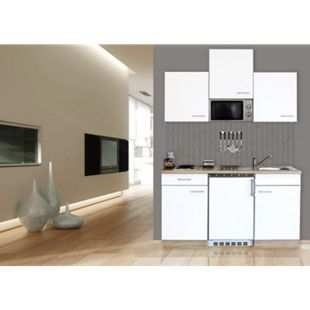 Respekta Küchenzeile KB150ESWMI 150 cm Weiß-Eiche Sägerau Nachbildung - Bild 1