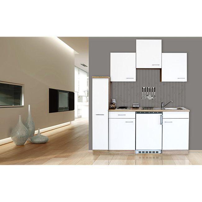 Respekta Küchenzeile KB180ESW 180 cm Weiß-Eiche Sägerau Nachbildung - Bild 1