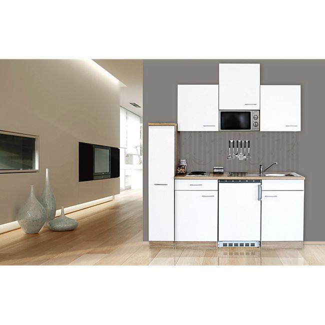 Respekta Küchenzeile KB180ESWMI 180 cm Weiß-Eiche Sägerau Nachbildung - Bild 1