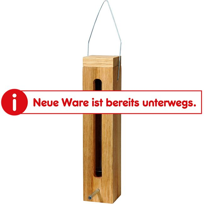 Luxus-Vogelhaus Eichenholz-Futterspender mit Futtersilo und Metallaufhängung - Bild 1