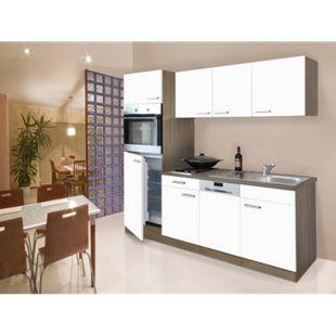 Respekta Küchenzeile KB205EYW 205 cm Weiß-Eiche York Nachbildung - Bild 1