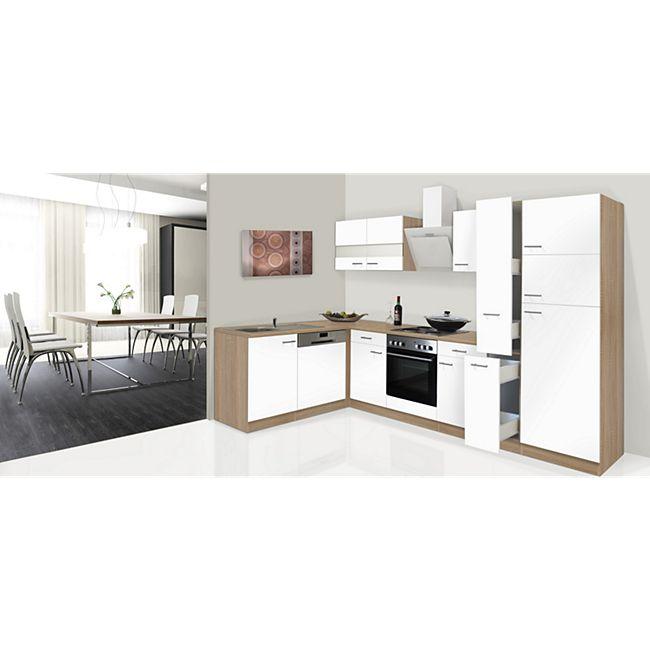 Respekta Winkelküche KBL310ESWS 310 cm Weiß-Eiche Sonoma Nachbildung - Bild 1