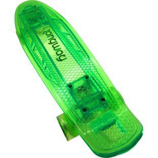 Longway Mini Skateboard mit LED Licht und Leuchtrollen transparent grün - Bild 1