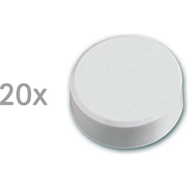 MAUL Facetterand-Magnet MAULpro, Ø 34 x 14 mm, 2 kg Haftkraft, 20 St./Set - weiß - Bild 1
