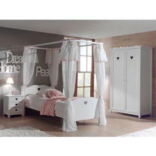 Vipack 4tlg. Set Amori mit Himmelbett inkl. Vorhang, Nachtkommode & Kleiderschrank 2trg. - Bild 1