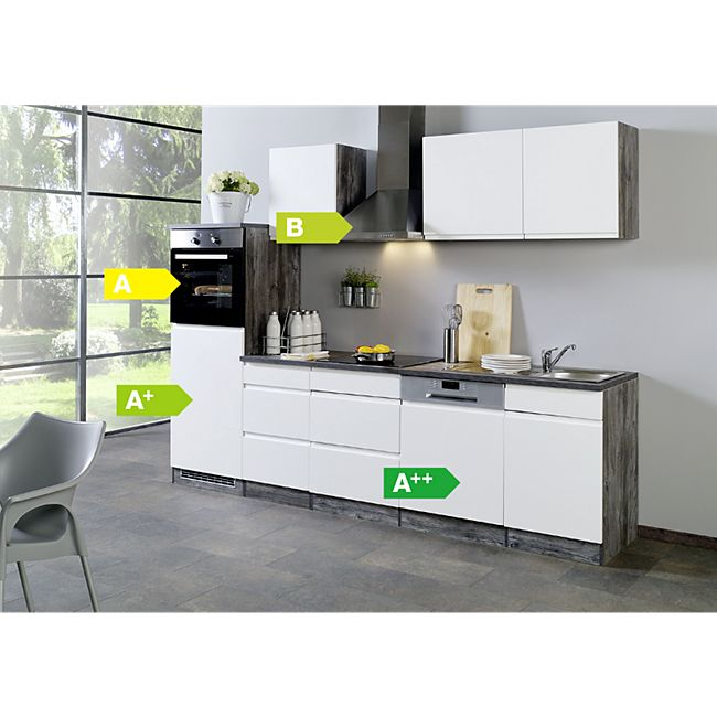 Held Möbel Küchenzeile Cardiff 280 cm Hochglanz Weiß - Bild 1