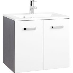HELD Möbel Bologna Waschtisch - 60 cm - Graphitgrau/Hochglanz Weiß - Bild 1