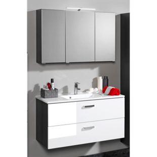 HELD Möbel Bologna Waschtisch/Spiegel-Set - 60 cm - Graphitgrau/Hochglanz Weiß - Bild 1