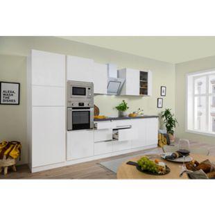 Respekta Premium grifflose Küchenzeile GLRP335HWWGKE 335 cm Weiß HG-Weiß - Bild 1