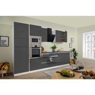 Respekta Premium grifflose Küchenzeile GLRP335HWGGKE 335 cm Grau HG-Weiß - Bild 1