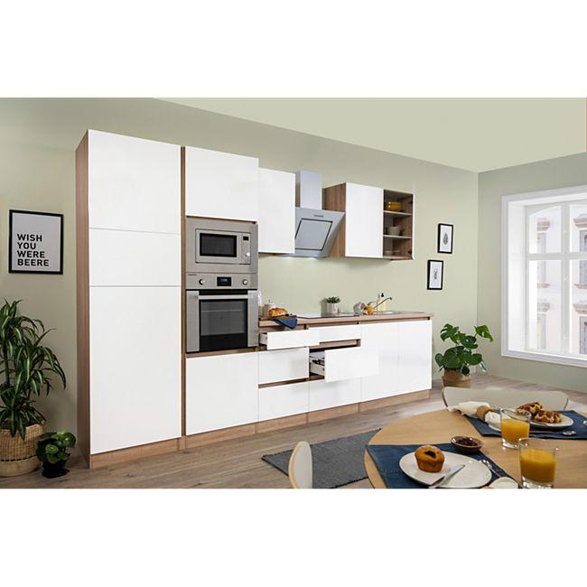 Respekta Premium grifflose Küchenzeile GLRP335HESWGKE 335 cm Weiß HG-Eiche Sonoma sägerau Nachb. - Bild 1