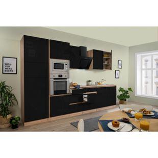 Respekta Premium grifflose Küchenzeile GLRP335HESSGKE 335 cm Schwarz HG-Eiche Sonoma sägerau Nachb. - Bild 1
