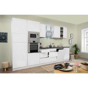 Respekta Premium grifflose Küchenzeile GLRP345HWWGKE 345 cm Weiß HG-Weiß - Bild 1