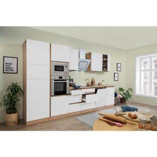 Respekta Premium grifflose Küchenzeile GLRP345HESWGKE 345 cm Weiß HG-Eiche Sonoma sägerau Nachb. - Bild 1