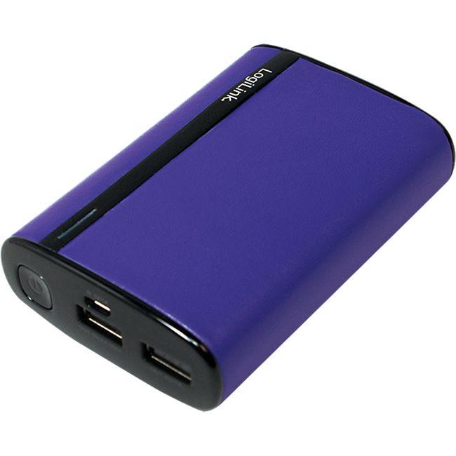 LogiLink PA0127A mobiler Zusatzakku in Lederoptik - violett - Bild 1