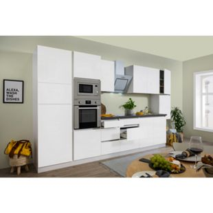 Respekta Premium grifflose Küchenzeile GLRP385HWWGKE 385 cm Weiß HG-Weiß - Bild 1