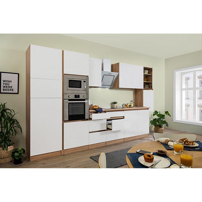 Respekta Premium grifflose Küchenzeile GLRP385HESWMGKE 385 cm Weiß matt-Eiche Sonoma sägerau Nachb. - Bild 1
