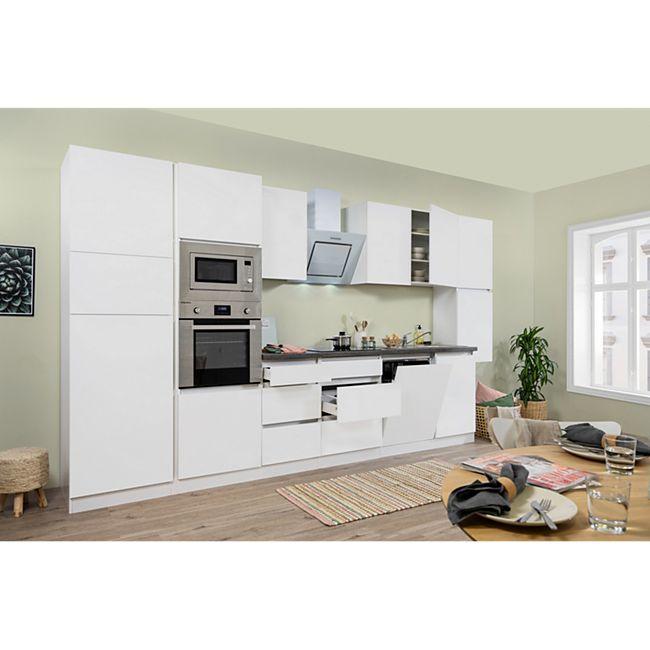 Respekta Premium grifflose Küchenzeile GLRP395HWWGKE 395 cm Weiß HG-Weiß - Bild 1