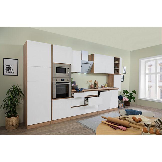 Respekta Premium grifflose Küchenzeile GLRP395HESWGKE 395 cm Weiß HG-Eiche Sonoma sägerau Nachb. - Bild 1