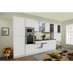 Respekta Premium grifflose Küchenzeile GLRP435HWWGKE 435 cm Weiß HG-Weiß - Bild 1
