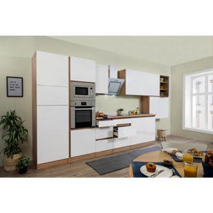 Respekta Premium grifflose Küchenzeile GLRP435HESWGKE 435 cm Weiß HG-Eiche Sonoma sägerau Nachb. - Bild 1