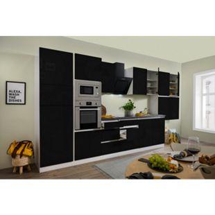 Respekta Premium grifflose Küchenzeile GLRP445HWSGKE 445 cm Schwarz HG-Weiß - Bild 1
