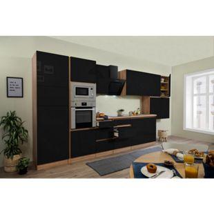 Respekta Premium grifflose Küchenzeile GLRP445HESSGKE 445 cm Schwarz HG-Eiche Sonoma sägerau Nachb. - Bild 1