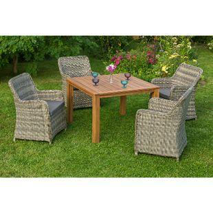 Merxx Tischgruppe Riviera mit Holztisch 110x110cm, 9-teilig - Bild 1