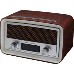 Soundmaster UR190DBR DAB+/ UKW Uhrenradio mit USB Ladebuchse - dunkelbraun - Bild 1