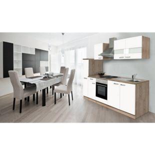 Respekta Küchenzeile KB240ESW 240 cm Weiß-Eiche Sägerau Nachbildung - Bild 1