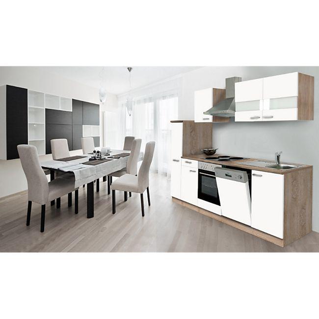 Respekta Küchenzeile KB250ESW 250 cm Weiß-Eiche Sägerau Nachbildung - Bild 1