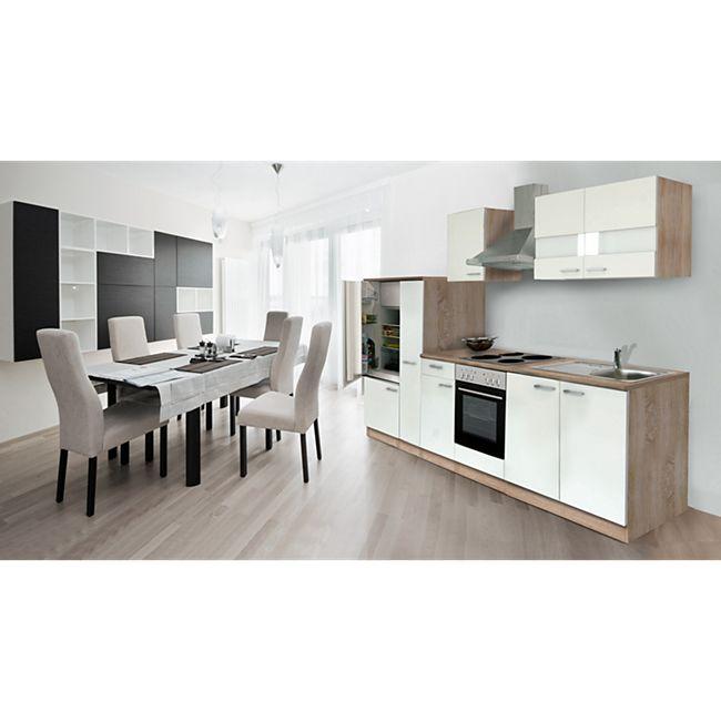 Respekta Küchenzeile KB300ESW 300 cm Weiß-Eiche Sägerau Nachbildung - Bild 1
