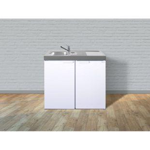 Stengel Küchen Kitchenline MK 100 weiß - ohne Kochfeld rechts, Becken links - Bild 1
