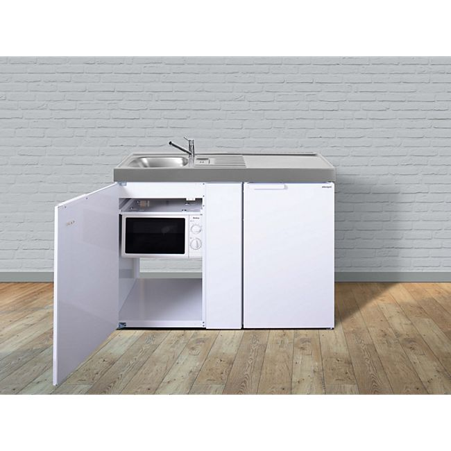 Stengel Küchen Kitchenline MKM 120 weiß - ohne Kochfeld rechts Becken links - Bild 1