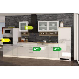 Held Möbel Küchenzeile Seattle 370GA cm Hochglanz Weiß - Bild 1