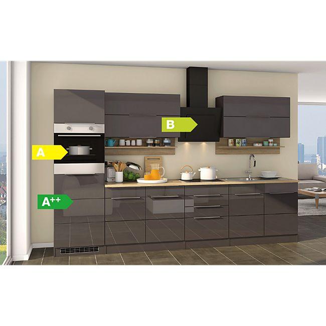 Held Möbel Küchenzeile Orlando 320 cm Hochglanz Grau - Bild 1