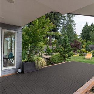 Home Deluxe WPC Terrassenfliesen, 11 Stck., 30x30 cm, 1m², dunkelbraun - Bild 1