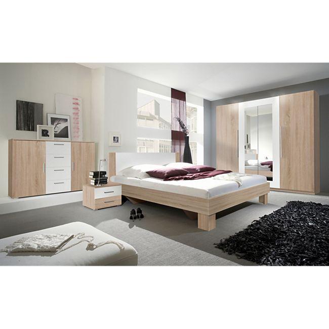 Schlafzimmer mit Bett 180 x 200 cm Eiche Sonoma/ weiss Helvetia Vera ...
