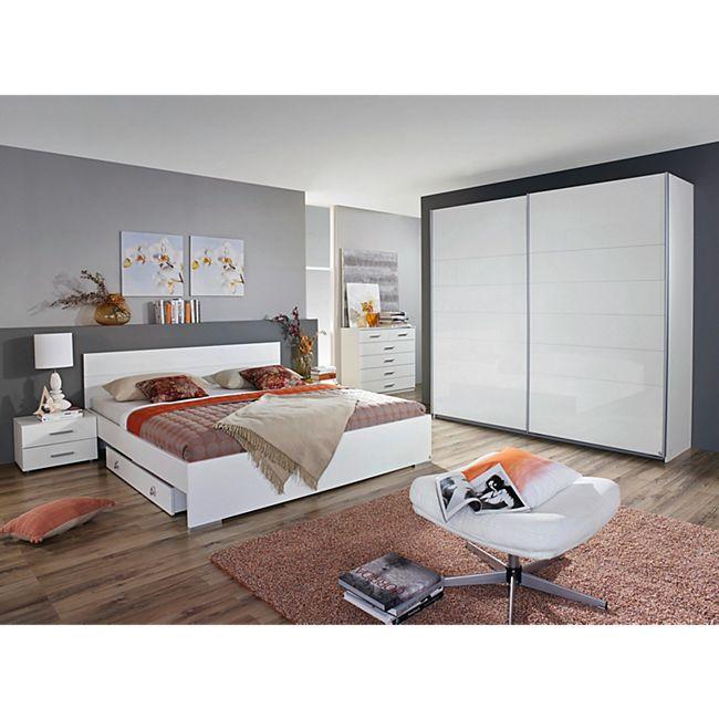 Schlafzimmer-Set weiss Hochglanz mit Bett 180 x 200 cm RAUCH PACKS ...