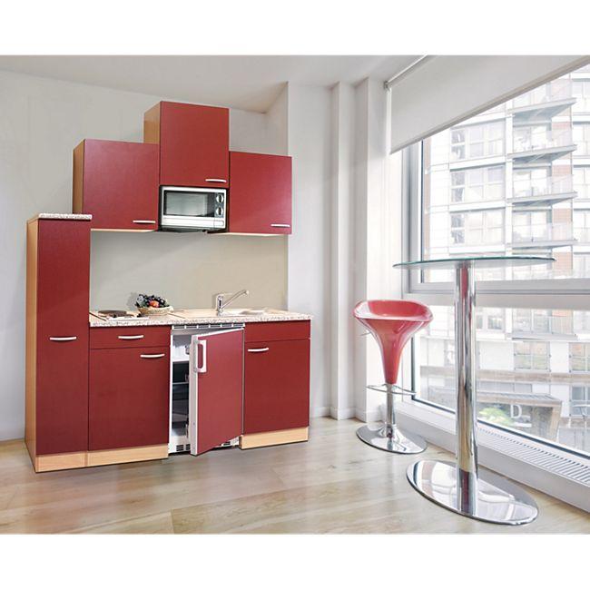 Respekta Küchenzeile KB180BRMI 180 cm Rot-Buche Nachbildung - Bild 1