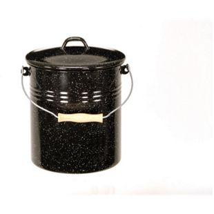 Emaille-Mülleimer mit Deckel schwarz-weiß-gesprenkelt 10 Liter - Bild 1