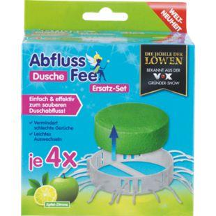 Abfluss-Fee Dusche Duftstein Set 8-tlg. grün Apfel-Zitrone (4 x Duftstein je 50 g + 4 x Haarfänger) - Bild 1