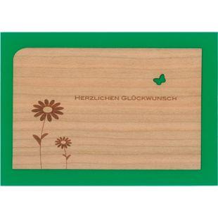 Holzpost Post- & Grußkarten Set 4-tlg. 14x9 cm - Je 1 x Danke, Erster, Geburtstag & Glück - Bild 1